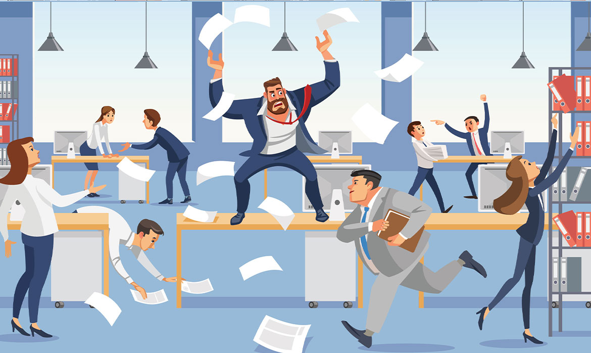 Illustration of office workers in chaos